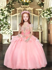 Dramatic Straps Sleeveless Glitz Pageant Dress Floor Length Beading and Ruffles Pink Organza