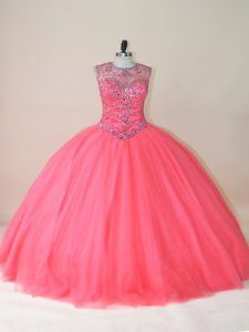 Watermelon Red Scoop Neckline Beading Sweet 16 Dress Sleeveless Lace Up