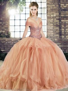 Discount Peach Off The Shoulder Lace Up Beading and Ruffles 15 Quinceanera Dress Sleeveless