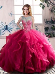 Hot Sale Floor Length Lace Up Quinceanera Gown Fuchsia for Sweet 16 and Quinceanera with Beading and Ruffles