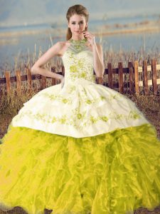 Halter Top Sleeveless Court Train Lace Up Quinceanera Dress Yellow Green and Yellow Organza