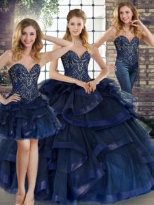 Custom Made Floor Length Three Pieces Sleeveless Navy Blue Quinceanera Dress Lace Up