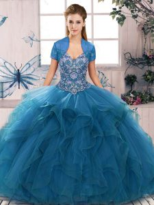Dramatic Blue Sweet 16 Dress Military Ball and Sweet 16 and Quinceanera with Beading and Ruffles Off The Shoulder Sleeveless Lace Up