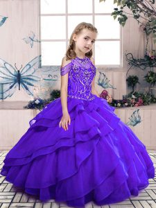 Purple Ball Gowns Beading and Ruffled Layers Little Girls Pageant Dress Wholesale Lace Up Organza Sleeveless Floor Length
