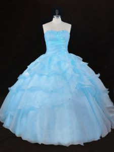 Aqua Blue Sleeveless Organza Lace Up Quinceanera Dress for Sweet 16 and Quinceanera