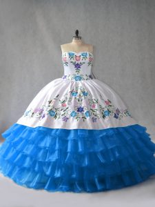Traditional Sleeveless Floor Length Embroidery and Ruffled Layers Lace Up Sweet 16 Dresses with Blue And White
