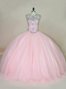 Simple Baby Pink Ball Gowns Beading Ball Gown Prom Dress Lace Up Tulle Sleeveless