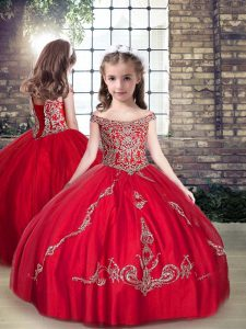 Best Red Straps Neckline Beading Little Girls Pageant Dress Sleeveless Lace Up
