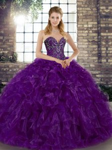 Ideal Beading and Ruffles Sweet 16 Dress Purple Lace Up Sleeveless Floor Length