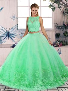 Vintage Scalloped Sleeveless Sweet 16 Dresses Sweep Train Lace Turquoise Tulle