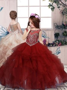 Floor Length Ball Gowns Sleeveless Red Child Pageant Dress Lace Up