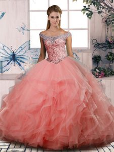 Decent Floor Length Watermelon Red Quinceanera Gowns Tulle Sleeveless Beading