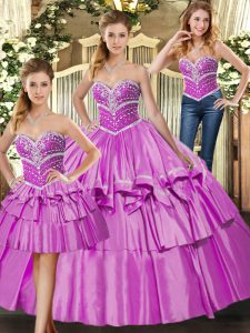 Classical Lilac Three Pieces Satin Sweetheart Sleeveless Beading and Ruffled Layers Floor Length Lace Up Quinceanera Dress
