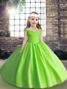 Tulle Spaghetti Straps Sleeveless Lace Up Beading and Ruching Girls Pageant Dresses in