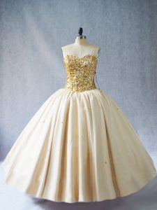 Flirting Champagne Ball Gowns Tulle Sweetheart Sleeveless Beading Floor Length Lace Up Quinceanera Gown