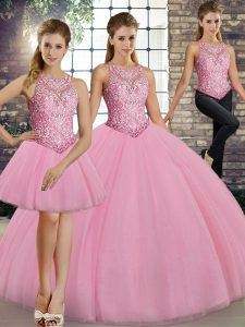 Dynamic Sleeveless Floor Length Embroidery Lace Up Quinceanera Gowns with Pink