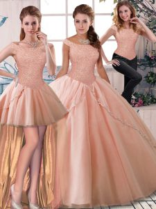 Dynamic Three Pieces Sleeveless Peach Ball Gown Prom Dress Brush Train Lace Up