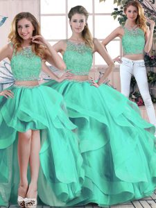 Sophisticated Turquoise Sleeveless Beading and Ruffles Floor Length Quinceanera Dress