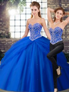 Gorgeous Royal Blue 15 Quinceanera Dress Sweetheart Sleeveless Brush Train Lace Up
