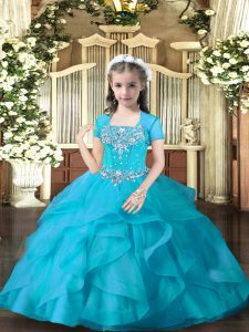 Aqua Blue Tulle Lace Up Little Girls Pageant Dress Wholesale Sleeveless Floor Length Beading and Ruffles