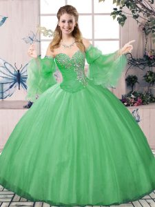Long Sleeves Tulle Floor Length Lace Up Quinceanera Gown in Green with Beading