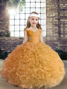 Hot Sale Beading Pageant Dress Womens Gold Lace Up Sleeveless Floor Length