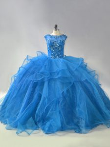 Graceful Blue Ball Gowns Organza Scoop Sleeveless Beading and Ruffles Lace Up Quinceanera Gown Brush Train