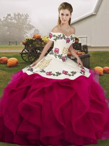 Affordable Sleeveless Embroidery and Ruffles Lace Up Quinceanera Dress