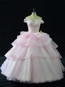 Attractive Sleeveless Beading and Ruffled Layers Lace Up Quinceanera Dress with Pink Brush Train
