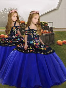 Super Royal Blue Lace Up Spaghetti Straps Embroidery and Ruffles Little Girls Pageant Dress Organza Sleeveless