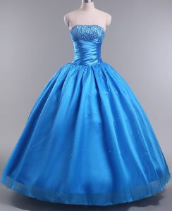 Blue Ball Gowns Beading Quinceanera Dresses Lace Up Organza Sleeveless Floor Length