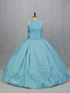 Best Selling Taffeta Sleeveless Floor Length Sweet 16 Quinceanera Dress and Embroidery
