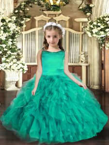 Turquoise Ball Gowns Tulle Scoop Sleeveless Ruffles Floor Length Lace Up Little Girl Pageant Dress