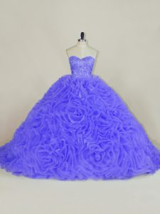 Hot Sale Sleeveless Organza and Fabric With Rolling Flowers Brush Train Lace Up 15th Birthday Dress in Purple with Beading and Ruffles