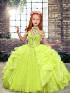 Luxurious Organza Sleeveless Floor Length Little Girl Pageant Dress and Beading