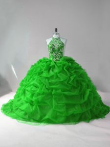 Custom Made Green Sleeveless Beading and Pick Ups Lace Up Quince Ball Gowns