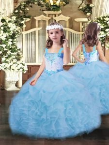 Straps Sleeveless Kids Pageant Dress Floor Length Beading and Ruffles and Pick Ups Blue Organza