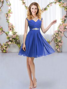 Pretty Blue Sleeveless Mini Length Belt Zipper Dama Dress for Quinceanera
