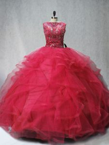 Sleeveless Brush Train Beading and Ruffles Lace Up 15th Birthday Dress