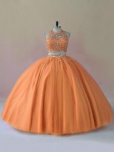 Exquisite Floor Length Orange Vestidos de Quinceanera Tulle Sleeveless Beading