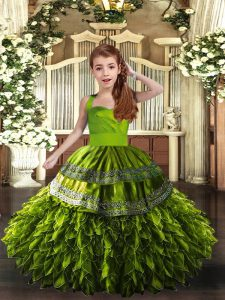 Custom Designed Olive Green Sleeveless Ruffles Floor Length Kids Pageant Dress