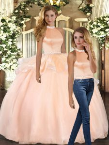 Stunning Peach Ball Gowns Organza Halter Top Sleeveless Beading Floor Length Backless Quinceanera Gowns