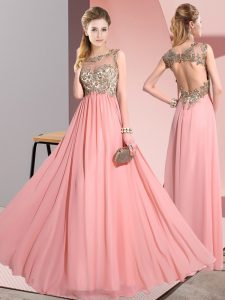 Sleeveless Chiffon Floor Length Backless Quinceanera Court of Honor Dress in Pink with Beading and Appliques