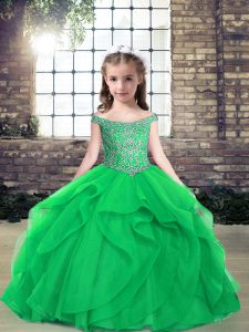 Green Tulle Lace Up Off The Shoulder Sleeveless Floor Length Girls Pageant Dresses Beading