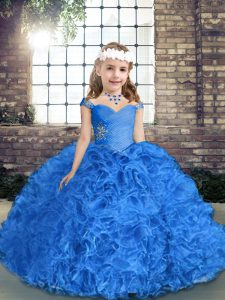 Luxurious Ball Gowns Child Pageant Dress Royal Blue Straps Fabric With Rolling Flowers Sleeveless Floor Length Lace Up