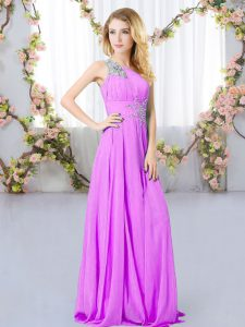 Lilac One Shoulder Zipper Beading Quinceanera Court Dresses Sleeveless