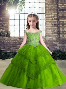 Off The Shoulder Sleeveless Kids Pageant Dress Floor Length Beading Green Tulle
