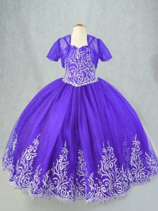 Spaghetti Straps Sleeveless Lace Up Little Girls Pageant Gowns Purple Tulle
