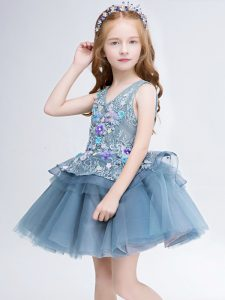 Suitable Tulle Sleeveless Mini Length Flower Girl Dresses for Less and Lace and Appliques