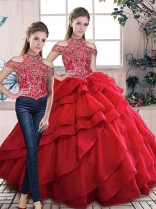 Organza Halter Top Lace Up Beading and Ruffles Quinceanera Dresses in Red